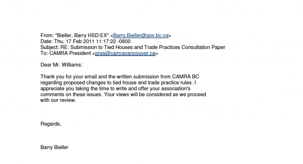 Response from Barry Bieller - Director, Policy, Planning & Communications